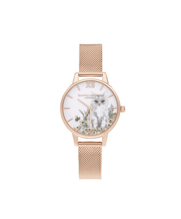 OLIVIA BURTON LONDON Illustrated Animals Cat Midi Rose Gold MeshOB16WL76 – Demi Dial In Rose Gold And Rose Gold - Front view