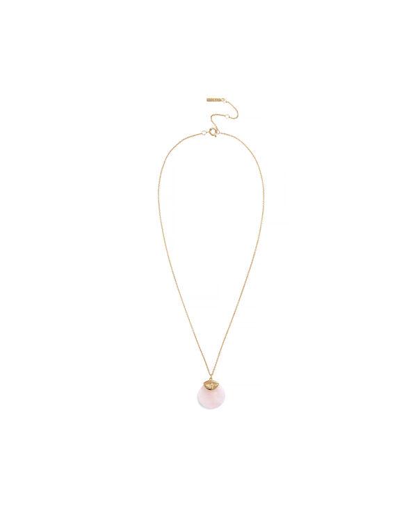 OLIVIA BURTON LONDON Semi Precious Necklace Gold & Rose QuartzOBJ16AMN40 – Pendant in  and Gold - Side view