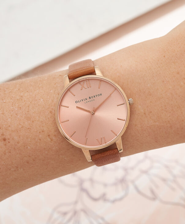 OLIVIA BURTON LONDON  Big Dial Tan And Rose Gold Watch OB15BD70 – Big Dial Round in Rose Gold and Tan - Other view