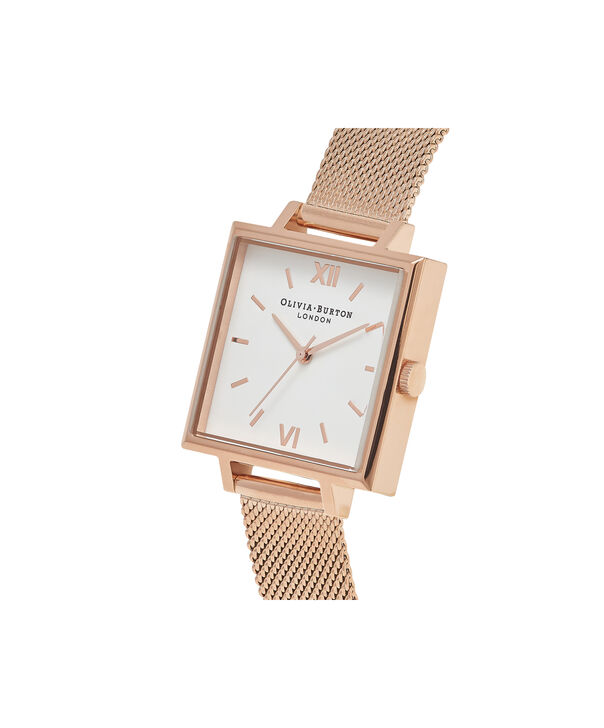 OLIVIA BURTON LONDON  Big Square Dial Rose Gold Mesh Watch OB16SS10 – Big Square in White and Rose Gold - Side view