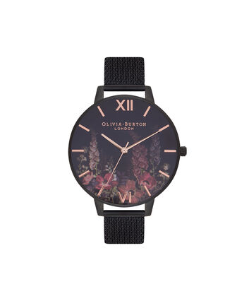 OLIVIA BURTON LONDON  After Dark Matte Black & Rose Gold Watch OB16AD29 – Big Dial Round Black - Front view