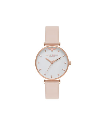 OLIVIA BURTON LONDON Queen BeeOB16AM95 – Midi Dial Round in White and Peach - Front view