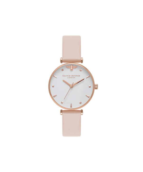 OLIVIA BURTON LONDON  T-Bar Nude Peach & Rose Gold Watch OB16AM95 – Midi Dial Round in White and Peach - Front view