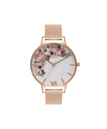 OLIVIA BURTON LONDON  Signature Floral Rose Gold Mesh Watch OB16WG18 – Big Dial in White and Rose Gold - Front view