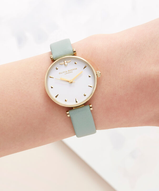 OLIVIA BURTON LONDON Queen Bee Mint Green & Rose Gold WatchOB16AM143 – Midi Dial Round in White and Mint Green - Other view