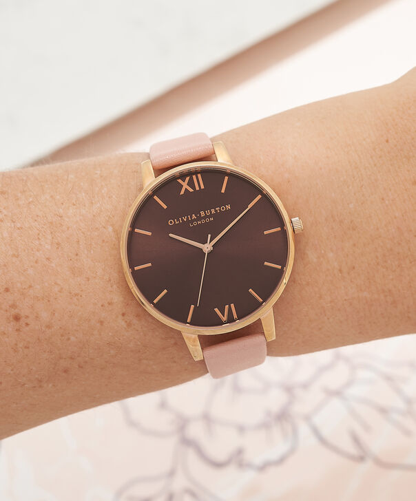 OLIVIA BURTON LONDON  Dusty Pink & Rose Gold Watch OB15BD72 – Big Dial in Chocolate and Burgundy - Other view