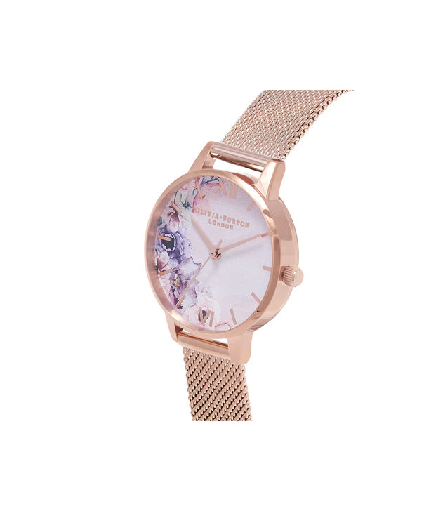 OLIVIA BURTON LONDON Watercolour Florals Rose Gold Mesh WatchOB16PP39 – Midi Dial Round in White and Rose Gold - Side view
