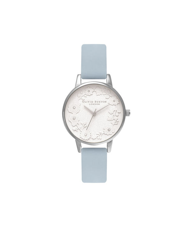 OLIVIA BURTON LONDON  Artisan Dial Chalk Blue & Silver OB16AR03 – Midi Dial Round in Silver and Blue - Front view
