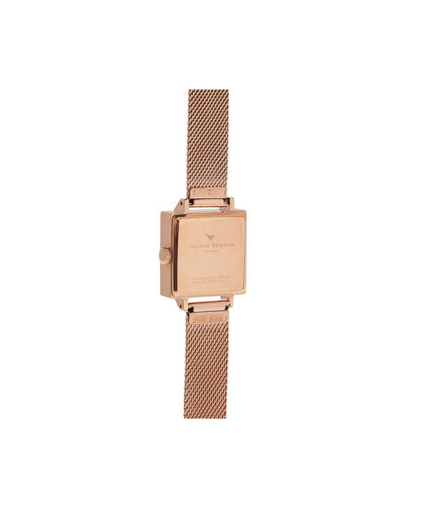 OLIVIA BURTON LONDON Lace Detail Blush & Rose Gold WatchOB16MV78 – Midi Dial Square in Grey Lilac and Rose Gold - Back view