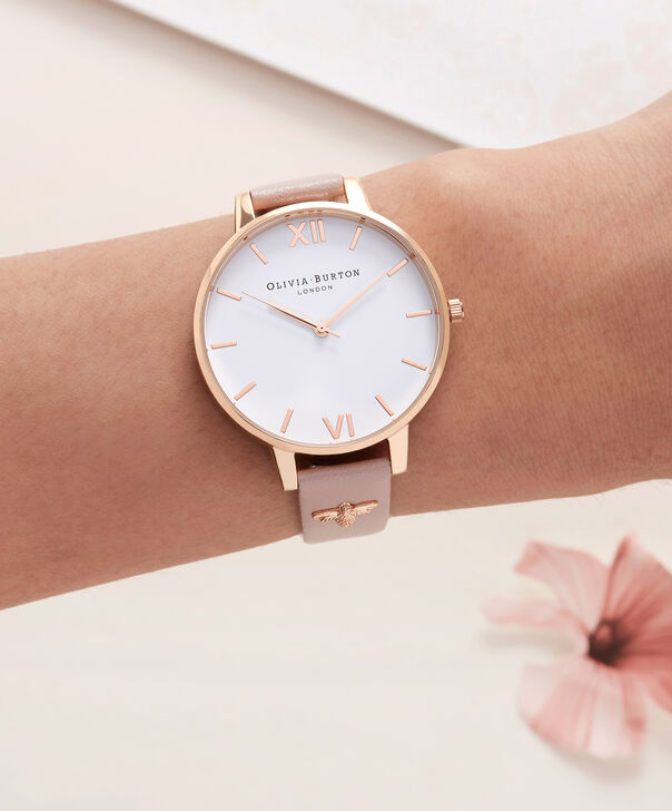 OLIVIA BURTON LONDON  3D Bee Embellished Strap Soft Rose & Rose Gold Watch OB16ES15 – Big Dial Round in White and Rose Gold - Other view