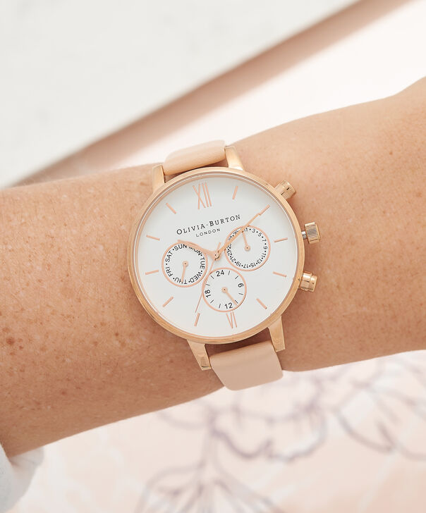 OLIVIA BURTON LONDON  Chrono Detail Nude Peach & Rose Gold Watch OB16CG88 – Big Dial Round in White and Peach - Other view