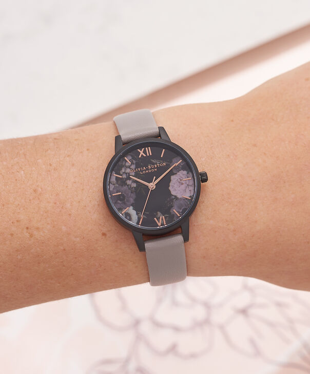 OLIVIA BURTON LONDON  After Dark Marble Floral Grey, IP Black & Rose Gold Watch OB16AD24 – Midi Round in Dark Floral and Grey - Other view