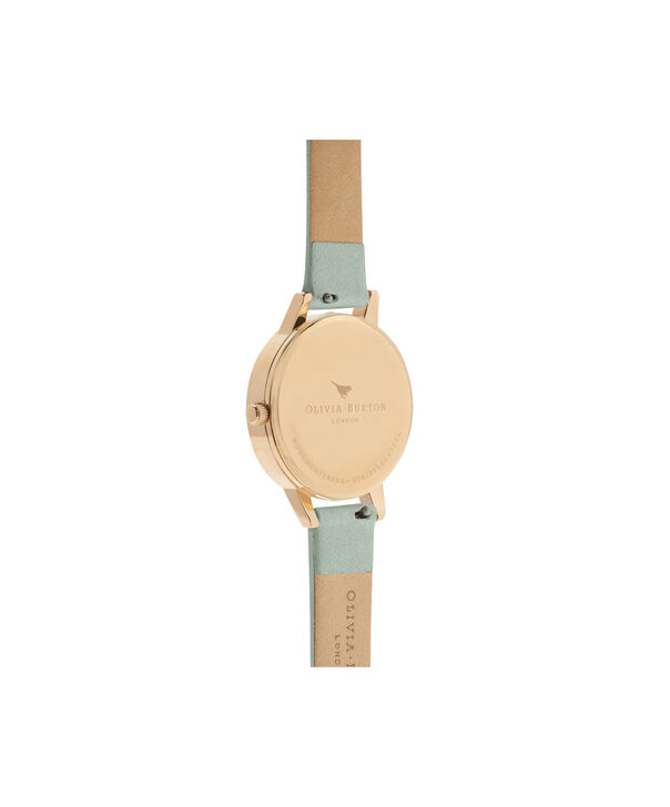 OLIVIA BURTON LONDON  Signature Florals Sage & Gold OB16WG50 – Midi Dial Round in Gold - Back view