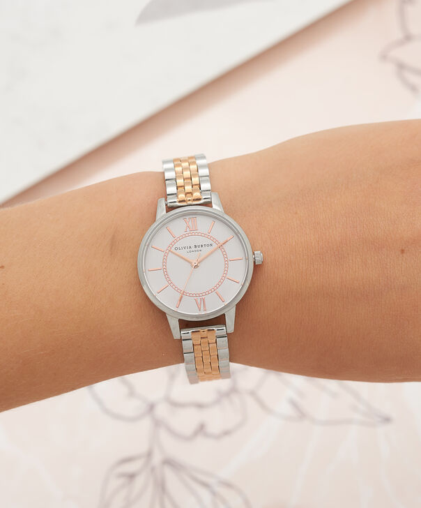 OLIVIA BURTON LONDON  Wonderland Bracelet Silver And Rose Gold Mix Watch OB15WD40 – Midi Dial in Silver and Rose Gold - Other view