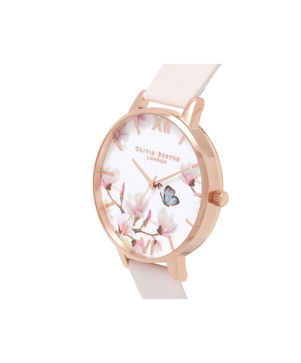 OLIVIA BURTON LONDON  Pretty Blossom Rose Gold & Blossom Watch OB16EG93 – Big Dial Round in Rose Gold and Blossom - Side view