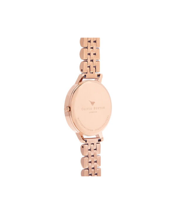 OLIVIA BURTON LONDON  Mother of Pearl White Bracelet, Rose Gold OB16MOP03 – Big Dial Round in Rose Gold and Rose Gold - Back view