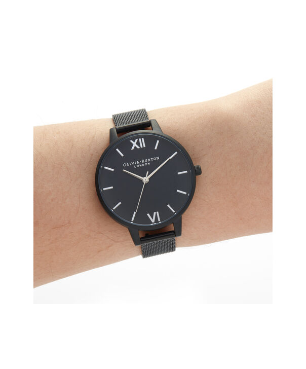 OLIVIA BURTON LONDON After Dark Silver & Matte Black MeshOB16AD51 – Demi Dial In Black And Ip Black - Other view