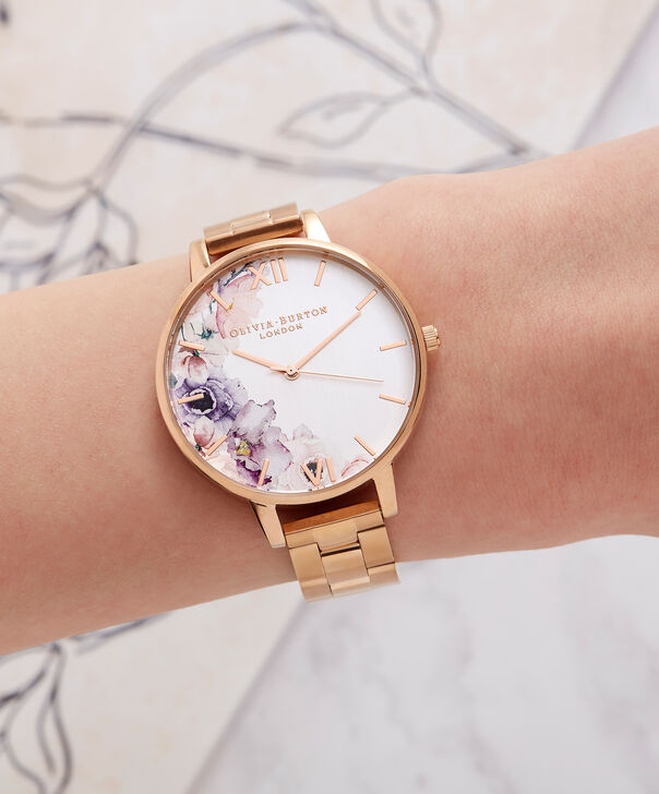 OLIVIA BURTON LONDON  Watercolour Florals Gold Bracelet Watch OB16PP38 – Midi Dial Round in White and Rose Gold - Other view