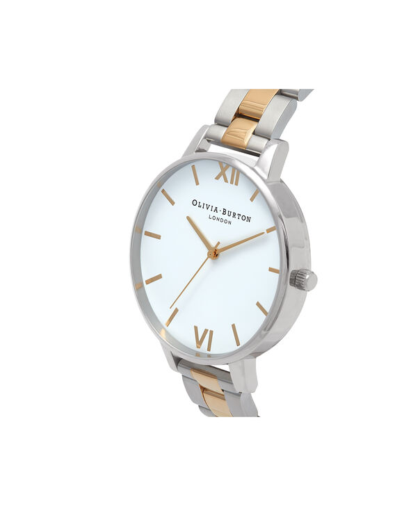 OLIVIA BURTON LONDON  Big Dial White Dial Silver & Gold Bracelet Watch OB16BL45 – Big Dial in White, Silver and Gold - Side view