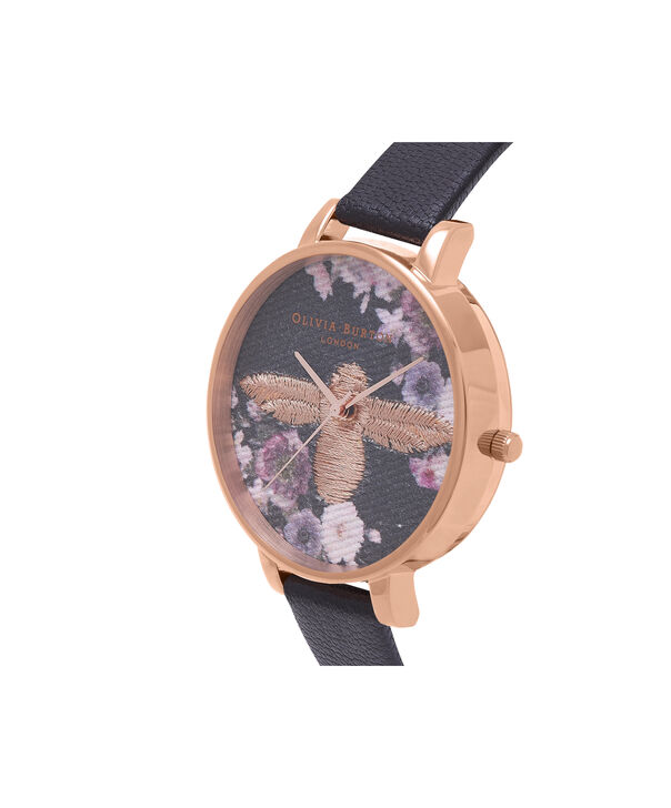 OLIVIA BURTON LONDON  Embroidered Dial 3D Bee Black and Rose Gold Watch OB16EM02 – Big Dial Round in Floral and Black - Side view