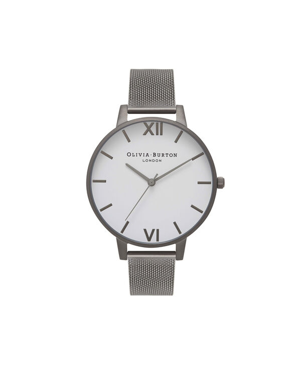 OLIVIA BURTON LONDON  Big Dial Gunmetal Mesh Watch OB16BDW06 – Big Dial Round in White and Gunmetal - Front view