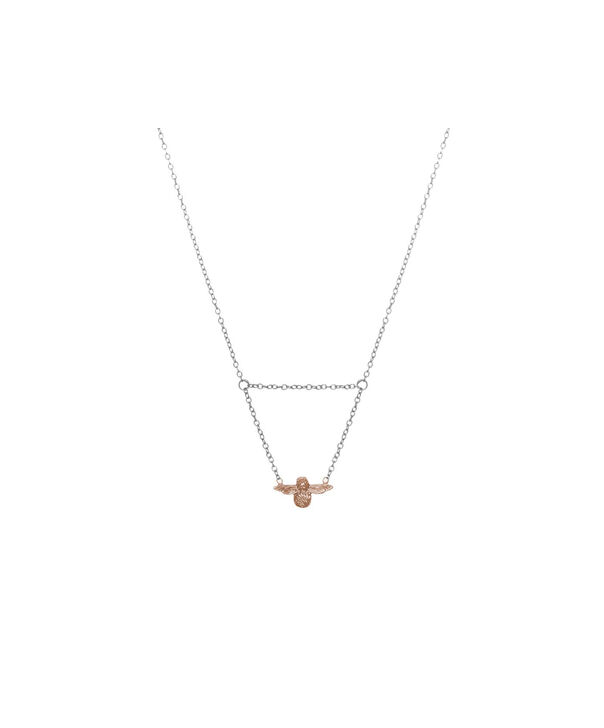Ladies 3D Bee Drop Necklace Silver & Rose Gold | Olivia Burton London