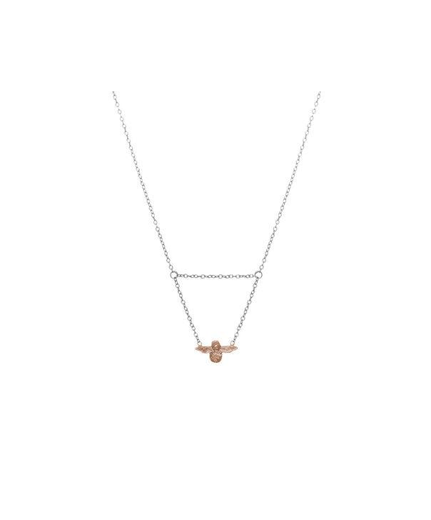 Ladies 3D Bee Drop Necklace Silver & Rose Gold   Olivia Burton London