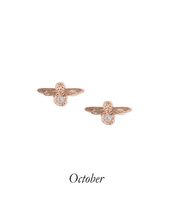 OLIVIA BURTON LONDON Celebration Bee Studs Rose Gold & Rose QuartzOBJ16AME26 – 3D Bee Bejewelled Stud Earrings - Front view