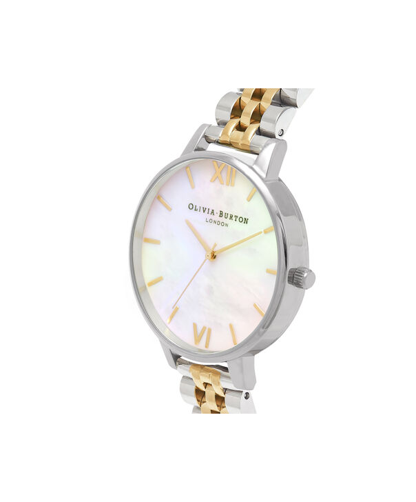 OLIVIA BURTON LONDON  Mother of Pearl White Bracelet, Gold & Silver OB16MOP05 – Big Dial Round in Gold and Silver - Side view