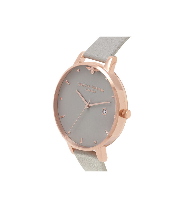 OLIVIA BURTON LONDON Queen Bee Grey Dial & Rose Gold WatchOB16AM87 – Big Dial Round in Grey - Side view
