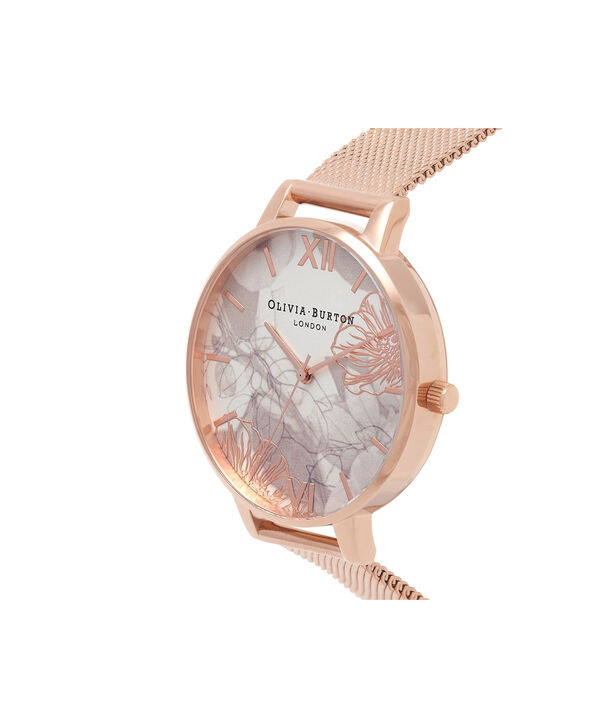 OLIVIA BURTON LONDON Abstract Florals Rose Gold Mesh Watch OB16VM15 – Big Dial in White and Rose Gold - Side view