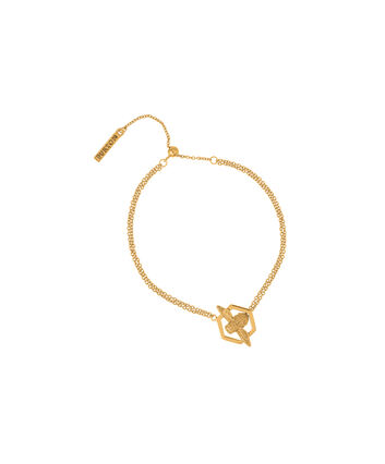 OLIVIA BURTON LONDON  Honeycomb Bee Chain Bracelet Gold  OBJ16AMB32 – Honeycomb Bee Chain Bracelet - Front view