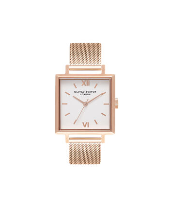 OLIVIA BURTON LONDON  Big Square Dial Rose Gold Mesh Watch OB16SS10 – Big Square in White and Rose Gold - Front view