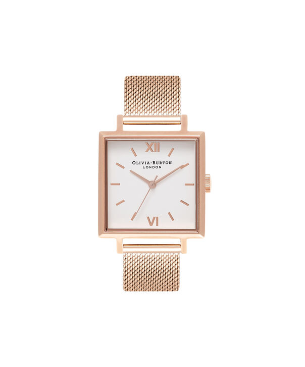 Ladies Big Square Dial Rose Gold Mesh Watch | Olivia Burton London