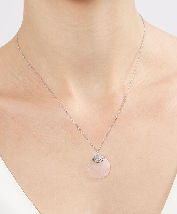 OLIVIA BURTON LONDON Semi Precious Necklace Silver & Rose QuartzOBJ16AMN24 – Semi Precious Necklace - Other view
