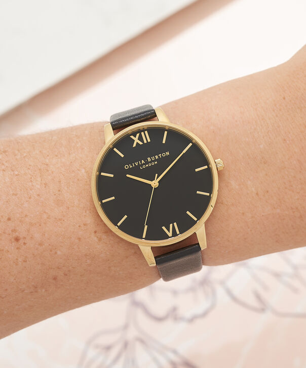OLIVIA BURTON LONDON  Big Dial Black And Gold Watch OB15BD55 – Big Dial Round in Black - Other view