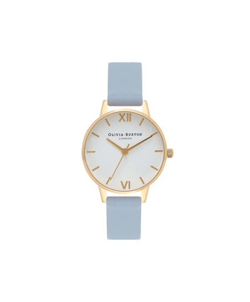 OLIVIA BURTON LONDON White DialOB16MDW24 – Midi Dial Round in White and Chalk Blue - Front view