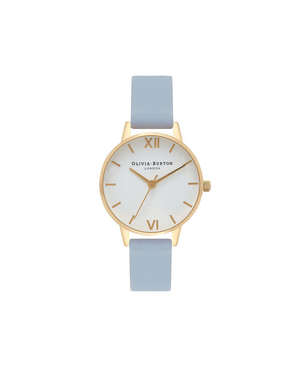 OLIVIA BURTON LONDON  Midi White Dial Chalk Blue & Gold Watch OB16MDW24 – Midi Dial Round in White and Chalk Blue - Front view