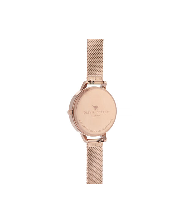 OLIVIA BURTON LONDON Celestial Demi Dial Watch with Boucle MeshOB16GD12 – Demi Dial in rose gold and Silver & Rose Gold - Back view