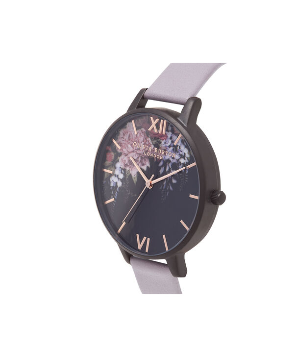 OLIVIA BURTON LONDON  After Dark Floral Grey Lilac & Matte Black Watch OB16AD15 – Big Dial in Floral and Grey Lilac - Side view