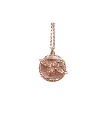 OLIVIA BURTON LONDON  3D Bee & Coin Necklace Rose Gold OBJ16AMN09 – 3D Bee Disc Necklace - Front view