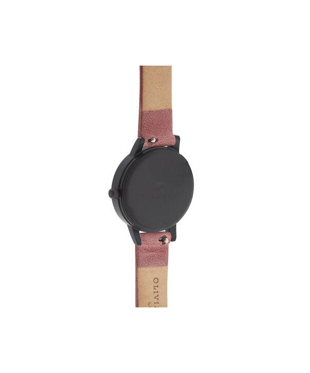 OLIVIA BURTON LONDON  After Dark Rose Suede & Matte Black OB16AD32 – Midi Dial Round in Black and Rose Gold - Back view