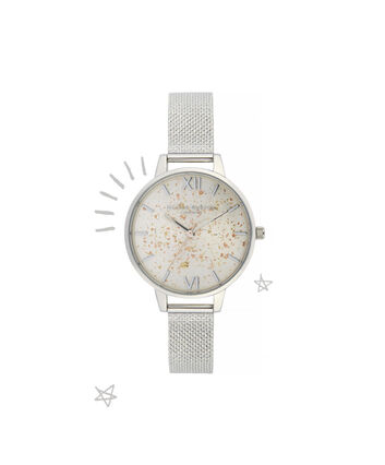 OLIVIA BURTON LONDON Celestial Demi Dial Watch with Boucle MeshOB16GD14 – Demi Dial in silver and Silver & Rose Gold - Front view