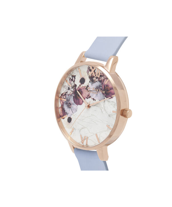 OLIVIA BURTON LONDON  Marble Floral Chalk Blue & Rose Gold OB16MF10 – Big Dial Round in Rose Gold and Blue - Side view