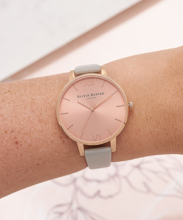 OLIVIA BURTON LONDON  Big Dial Grey & Rose Gold Watch OB16BD98 – Big Dial Round in Rose Gold and Grey - Other view