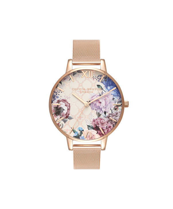 OLIVIA BURTON LONDON  Glasshouse Rose Gold Mesh OB16EG86 – Big Dial Round in Rose Gold - Front view