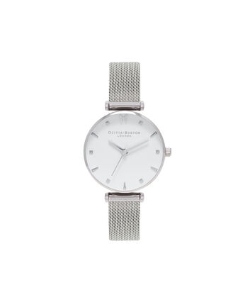 OLIVIA BURTON LONDON Social ButterflyOB16MB12 – Midi Dial Round in White and Silver - Front view