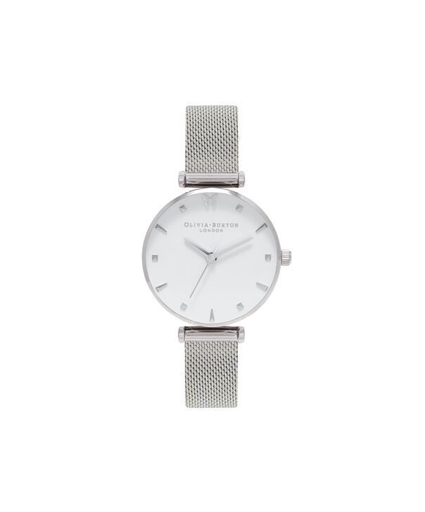 OLIVIA BURTON LONDON  Social Butterfly Silver Mesh Watch OB16MB12 – Midi Dial Round in White and Silver - Front view