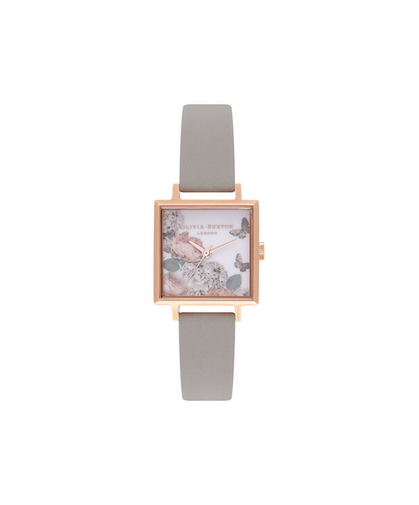 OLIVIA BURTON LONDON  Midi Signature Floral Rose Gold and Grey Watch OB16WG41 – Midi Dial in Floral and Rose Gold - Front view
