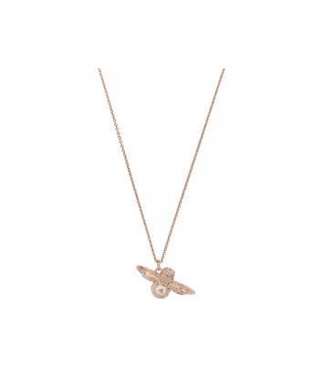 OLIVIA BURTON LONDON Bejewelled Bee Pendant with Rose QuartzOBJ16AMN35 – Bejewelled Bee Pendant - Front view
